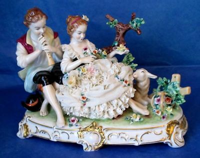 DRESDEN UNTERWEISSBACH Antique Courting Pair Large Porcelain Lace Figurine