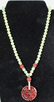 """Antique Chinese Genuine Jade and Silver Spacers 19"""" Necklace"""
