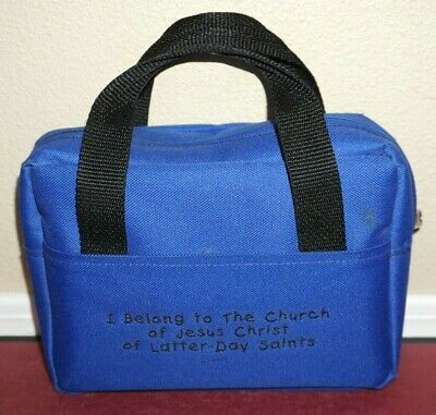 Scripture Case Blue Cloth Standard Size I Belong to the Church LDS Mormon tote