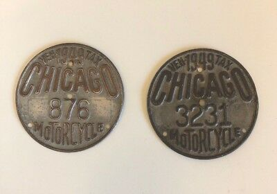 Lot Of 2-1949 Chicago Illinois Veh Tax Motorcycle License Plate -Tag # 876 #3231