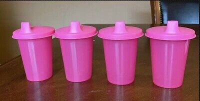 Tupperware Pink Bell Tumblers With Sipper Seal Domed Set !!!!