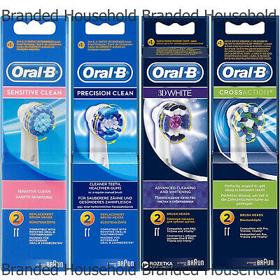 Oral B Electric Toothbrush Replacement Heads Sensitive 3D White Precision Cross