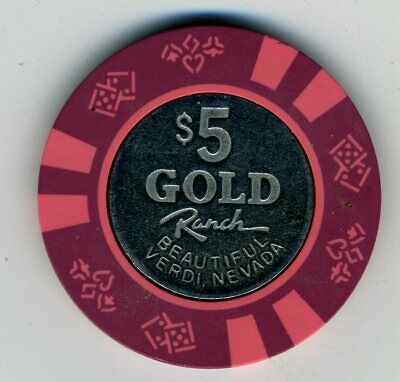 Obsolete $5 coin center chip from Gold Ranch Casino, Verdi, Nevada - my last one