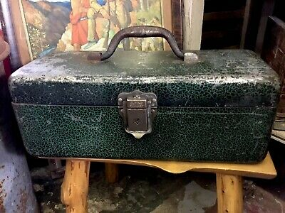Vintage HEDDON Fishing Tackle Box Metal Scale Finish