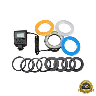 Macro LED Ring Flash Light For Nikon Canon DSLR Camera with 8 Adapter rings