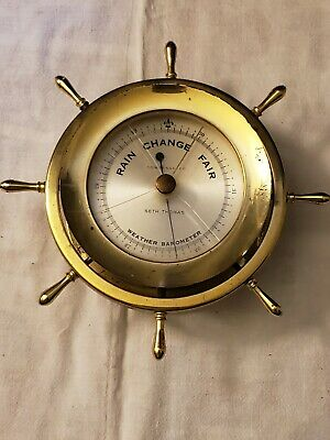 Vintage Seth Thomas Brass Ship's Weather Barometer helmsman BE537-009