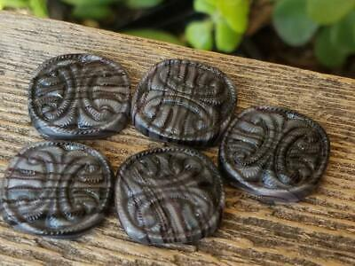 Vintage 1940's Glass Deep Purple Gray Molded Design Flat Back Cabochons Cabs