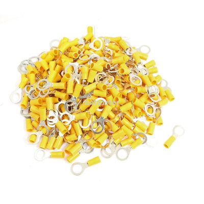 H● 500 Pcs RV5.5-10 AWG 12 -10 Yellow Sleeve Pre Insulated Ring Terminals.