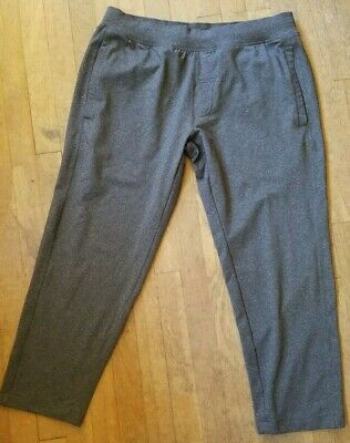 slouchy LULULEMON stretch knit Boyfriend cropped Capris pants XL TALL flat front