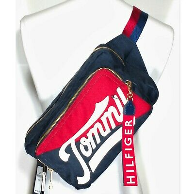 aed67409 Tommy Hilfiger Daly Convertible Belt Sling Bag Fanny Pack Retro Logo Red  Blue