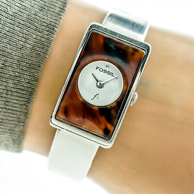 Fossil F2 Womans Watch ES8793 Bangle Tortoise Face White Dial Stainless Working