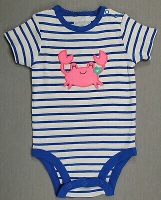 New!! Carter's 6 Month Baby Girl Blue Striped Crab Bodysuit