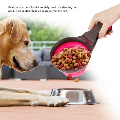 1* Collapsible Pet Cat Dog Food Scoop Silicone Foldable Measuring Sealing Clamp