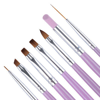 Professional 7x Nail Art UV Gel Painting Drawing Brushes Acrylic Flat Brush Set