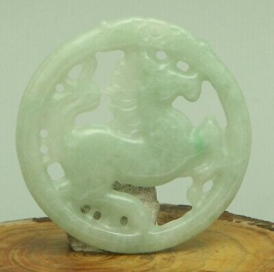 Certified light Green Natural A Jade jadeite Pendant Hollow out horse 马 07304T
