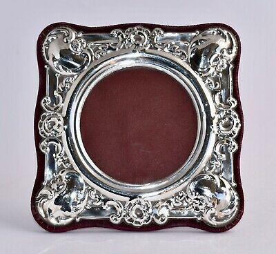 1987 Sterling Silver Repousse Photo Frame - Velvet Backed - Window size 9.5cm D