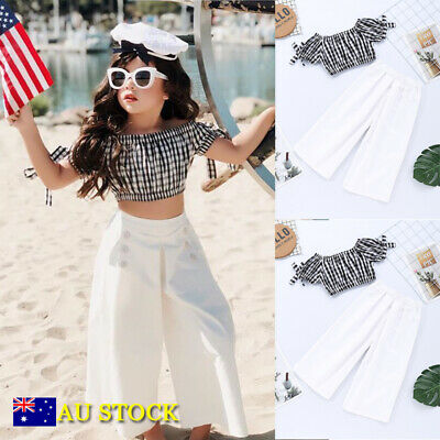 2Pcs Baby Girls Kids Crop Tops T Shirt Wide Leg Long Pants Summer Clothes Outfit