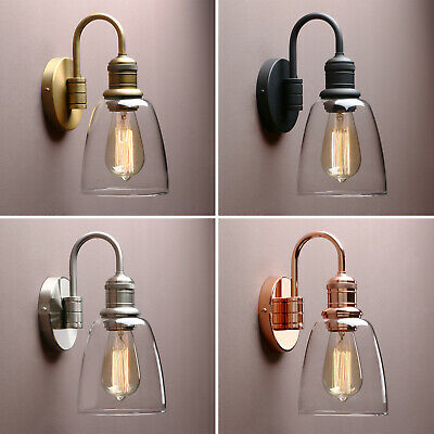 Cloche Glass Shade Retro Industrial Kitchen Wall Lamp Sconce Bathroom Wall Light