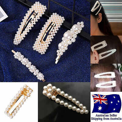New Women Girl Pearl Hair Clip Snap Barrette Stick Pin Hair Accessory Party 1pc