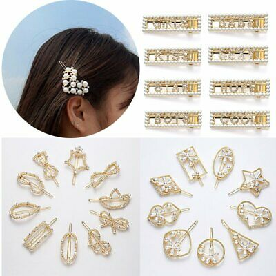 Trendy Crystal Pearl Hair Clip Slide Hollow Bridal Women Hair Pin Accessories