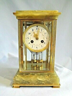 Fabulous Small Size 4 Glass Clock C1890 Working Order.