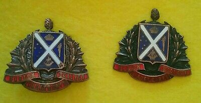 Pair Of Vintage Metal & Enamel Scotch College Cadet Corps Melbourne Hat Badges