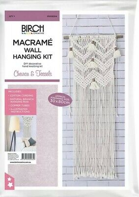 Birch Macrame Wall Hanging Kit - Chevron & Tassels - Retro