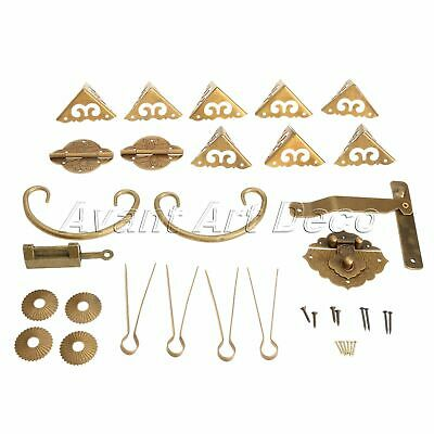 Latch Handle + Brass Hinges + Corner Protector Set for Trunk Jewelry Case Box