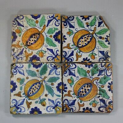 Antique Set of four Dutch Delft polychrome tiles, circa 1600-1630
