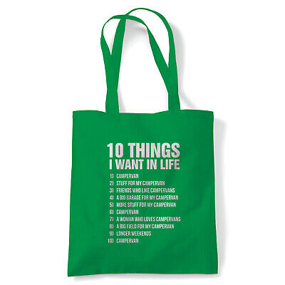 10 Things I Want In Life Camper, Funny Tote - Gift Reusable Shopping Canvas Bag