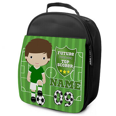 Personalised FOOTBALL Lunch Bag Boys Children School Nursery Box - ANY TEAM KF08