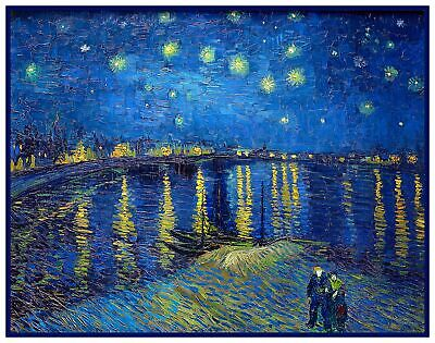 Starry Night Over Rhone by Impressionist Van Gogh Counted Cross Stitch Pattern