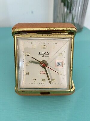 Titan Travel Alarm Clock Vintage 1970s Brown Plastic Case Working Time Piece