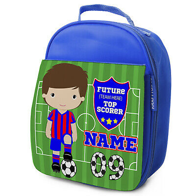 Personalised FOOTBALL Lunch Bag Boys Children School Nursery Box - ANY TEAM KF03