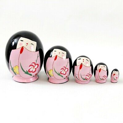 New Wooden Toy 5 Nesting Russian Doll in egg shape Pink - Japanese