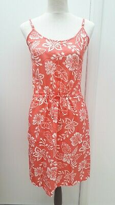 F&F Ladies Size 6 Pink White Floral Strappy Tunic Sun Dress Summer Fashion Wear