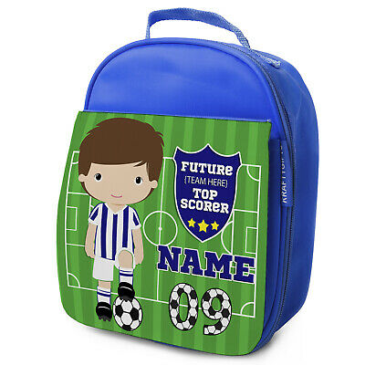 Personalised FOOTBALL Lunch Bag Boys Children School Nursery Box - ANY TEAM KF14