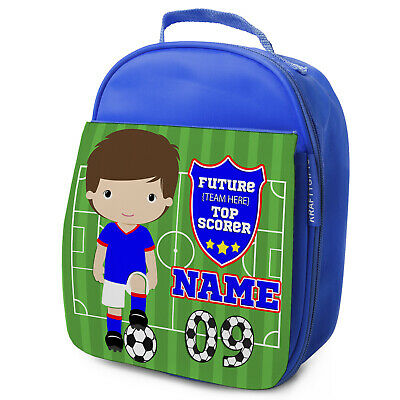 Personalised FOOTBALL Lunch Bag Boys Children School Nursery Box - ANY TEAM KF17