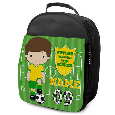Personalised FOOTBALL Lunch Bag Boys Childrens School Nursery Box KF21