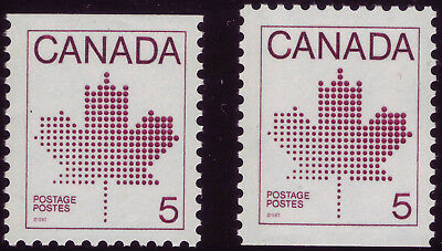 CANADA 2 x #940 booklet singles 5c Maple Leaf, APP uncoated, s/e top, bottom MNH