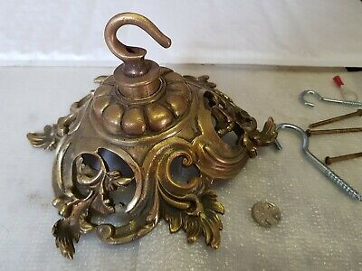 LARGE huge 19cm CEILING ROSE chandelier hook FRENCH cast brass VINTAGE old c1920