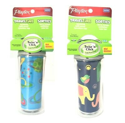 2 x Playtex Traveltime Insulated Spill-Proof Spoutless Cup Elephants Planets