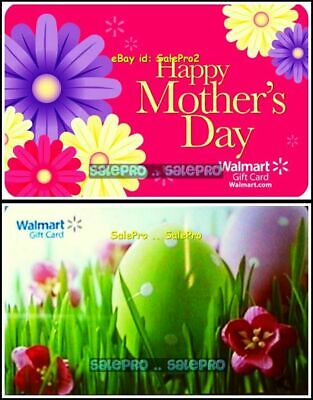 2x WALMART HAPPY EASTER EGG HAPPY MOTHER'S DAY PINK COLLECTIBLE GIFT CARD LOT