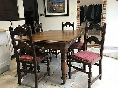 Victorian Oak Extending Kitchen Dining Table (chairs sold separately)