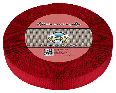 Country Brook Design® 1 Inch Red Polyester Webbing, 10 Yards