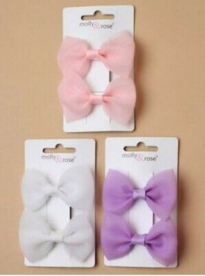Ladies Girls Kids 2 Pack Sheer Fabric 4cm Hair Bows on Clips Pink White Lilac