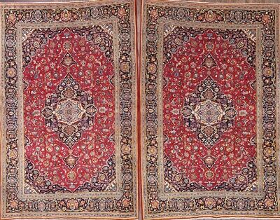 PAIR OF 2 Antique Floral RED Oriental Area Rugs Hand-Knotted Accent Carpet 5'x7'