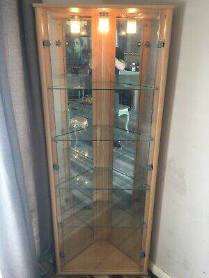 TALL ASH/GLASS LIVING Room Display Cabinet Unit - £45.00 ...