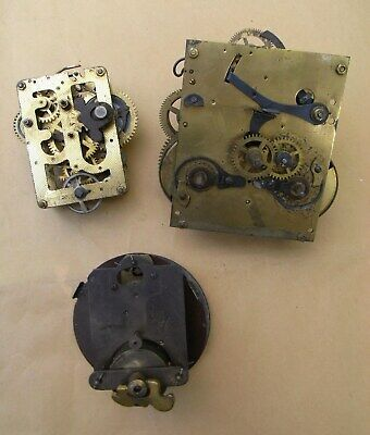 3 Antique Clock Movements for Spares or Repair Incl Junghans B21 Japy Freres.
