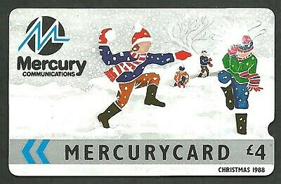Mer009 Christmas 1988 Mint £4 Mercury Phonecard